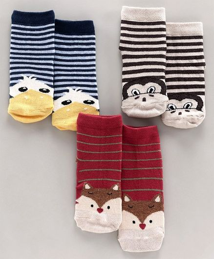 Mustang Ankle Length Socks Set of 3 Pairs - Blue Red