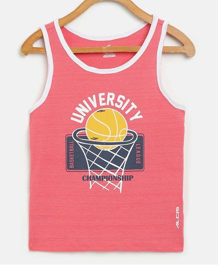 Alcis Sleeveless Basket Ball Printed Tee - Pink