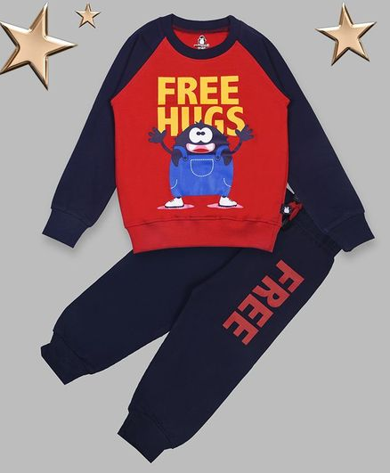 Crazy Penguin Full Sleeves Cartoon Print Sweatshirt With Lounge Pants - Navy Blue