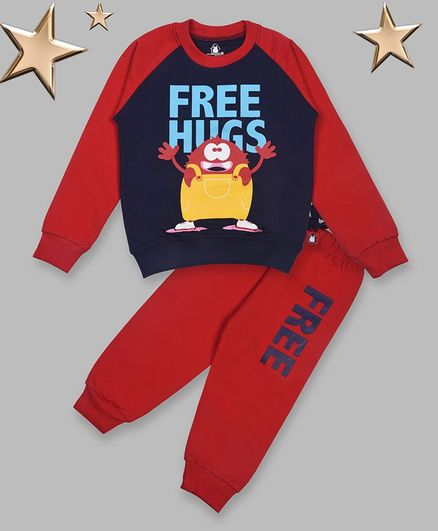 Crazy Penguin Full Sleeves Cartoon Print Sweatshirt With Lounge Pants - Red