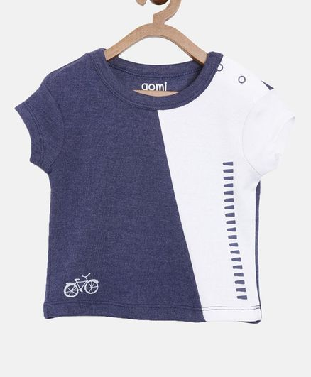 Aomi Short Sleeves Cycle Print T-Shirt - Navy Blue