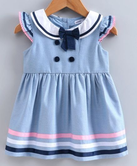 Babyoye Short Sleeves Cotton Blend Frock with Bloomer - Sky Blue