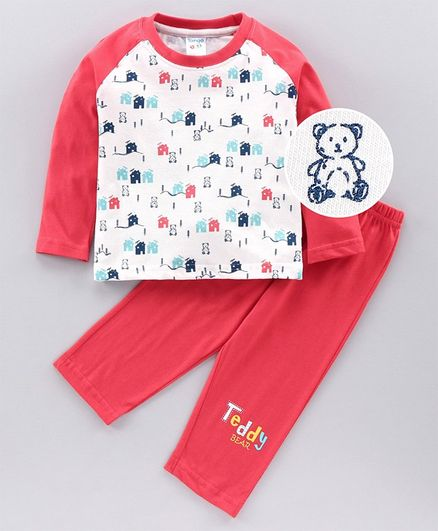 Tango Full Sleeves Tee & Lounge Pant Teddy Print - Red