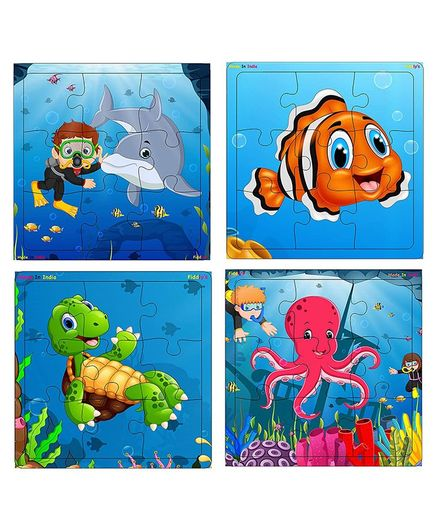 Fiddlys Wooden Sea World Jigsaw Puzzle Pack of 4 - 9 Pieces Each
