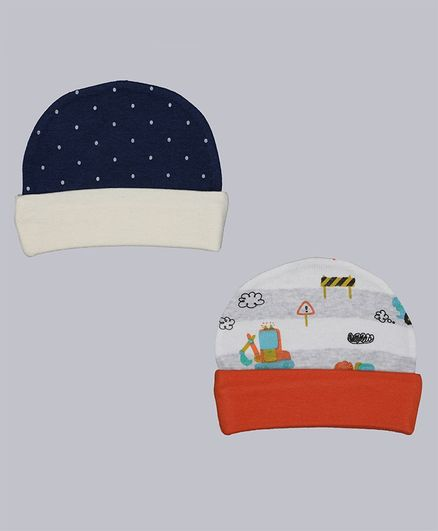 Grandma's Baby Cap Polka Dot Print Blue Pack of 2 - Diameter 10.5 cm