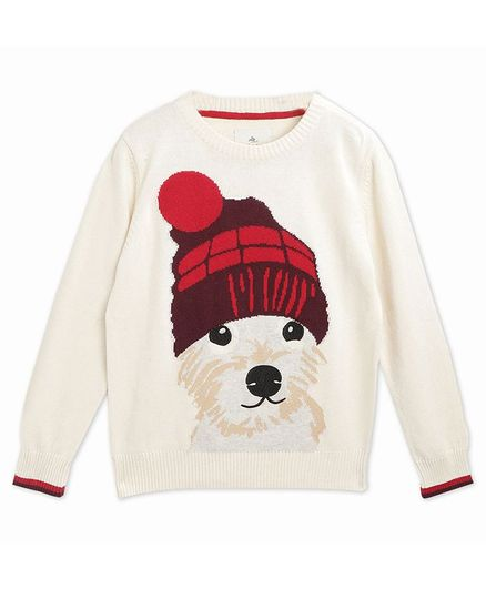 Cherry Crumble By Nitt Hyman Full Sleeves Dog Design Sweater - Off White