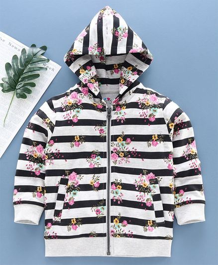 Ventra Full Sleeves Striped Floral Print Hooded Jacket - Grey