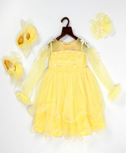 PinkCow Flower Embroidered Full Sleeves Dress With Booties & Hair Clip - Yellow