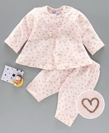 Ben Benny Full Sleeves Night Suit Heart Print - Cream