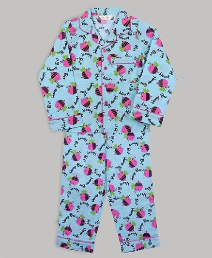 Baby Cloud Full Sleeves Bee Printed Night Suit - Light Blue