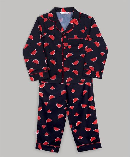 Baby Cloud Full Sleeves Watermelon Printed Night Suit - Black