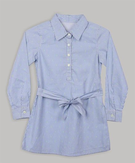 Baby Cloud Full Sleeves Striped Tunic Dress - Blue & White