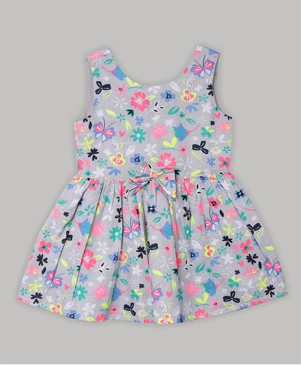 Baby Cloud Sleeveless Butterfly Printed Dress - Grey