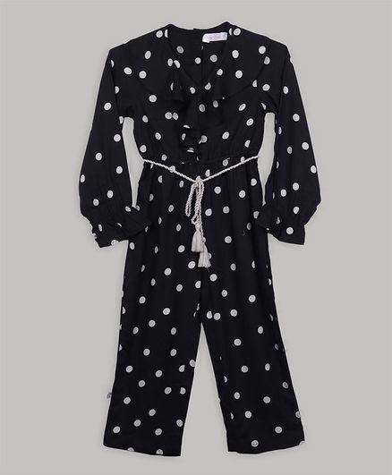 Baby Cloud Full Sleeves Polka Dots Printed Jumpsuit - Black