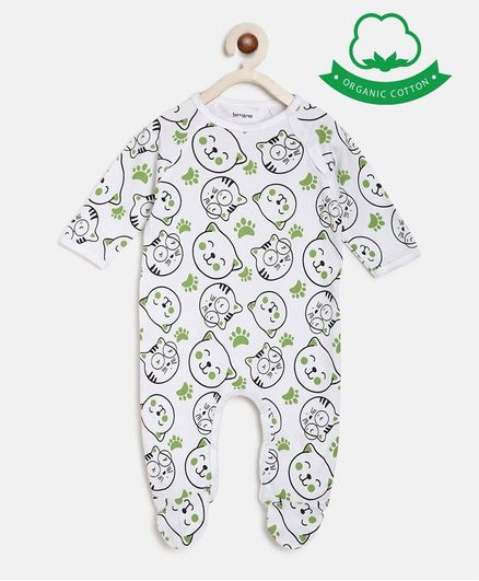berrytree Organic Cotton Full Sleeves Cat Print Romper - Green