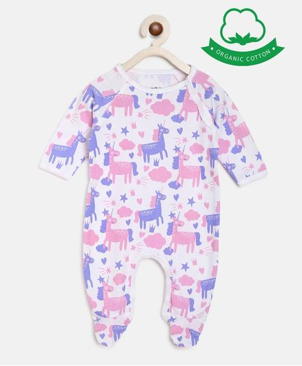 berrytree Organic Cotton  Full Sleeves Unicorn Print Romper  - Purple