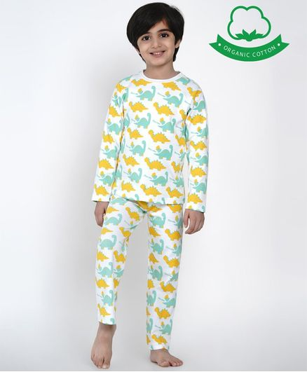 berrytree Organic Cotton Full Sleeves Dinosaur Print Night Suit  - Green