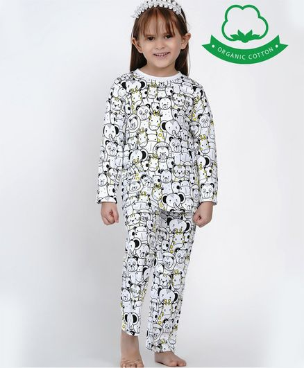 berrytree Organic Cotton Full Sleeves Animals Print Night Suit -  Black