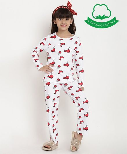 berrytree Organic Cotton Full Sleeves Whales Printed Night Suit - White