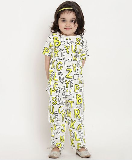 berrytree Organic Cotton Half Sleeves Alphabets Printed Night Suit - Yellow