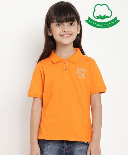 berrytree Organic Cotton Half Sleeves Sister Bear Embroidered T-Shirt - Orange