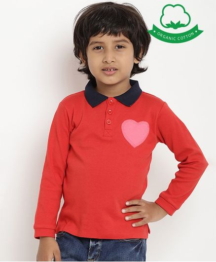 berrytree Organic Cotton Full Sleeves Heart Patch Polo T-Shirt - Red