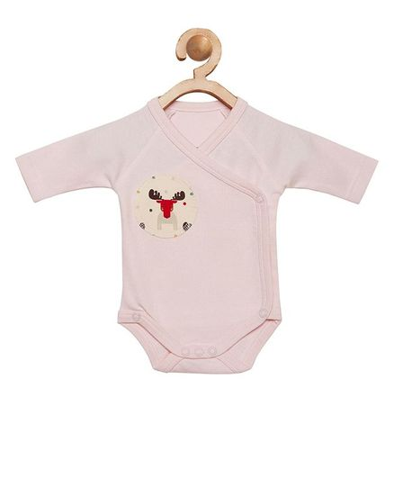 berrytree Organic Cotton Full Sleeves Reindeer Patch Onesie - Pink