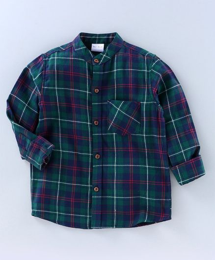 BAATCHEET Twill Checked Full Sleeves Shirt - Blue And Green