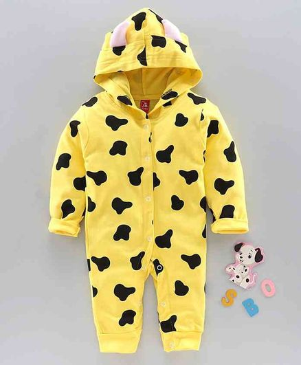 Jb Club Printed Full Sleeves Hooded Romper - Yellow