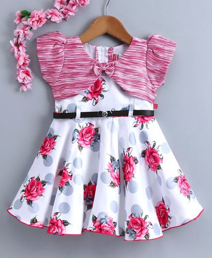 Twetoons Short Sleeves Floral Printed Frock with Belt - White Pink