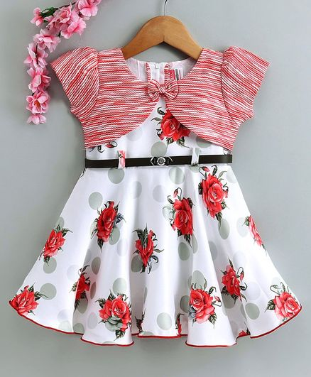 Twetoons Short Sleeves Floral Printed Frock with Belt - White Red