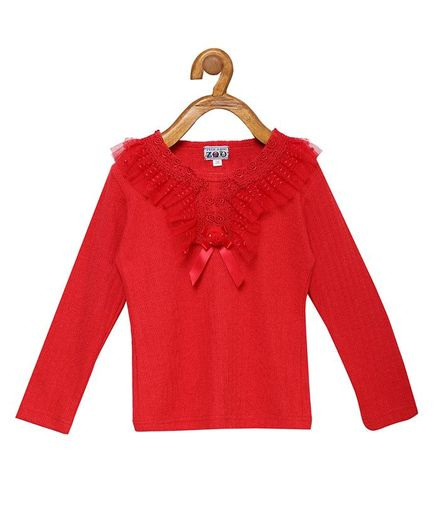 Peek a boo Zoo Full Sleeves Small Flower Embroidery Casual Knitted Top - Red