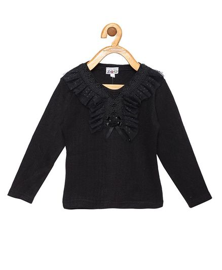 Peek a boo Zoo Full Sleeves Small Flower Embroidery Casual Knitted Top - Black