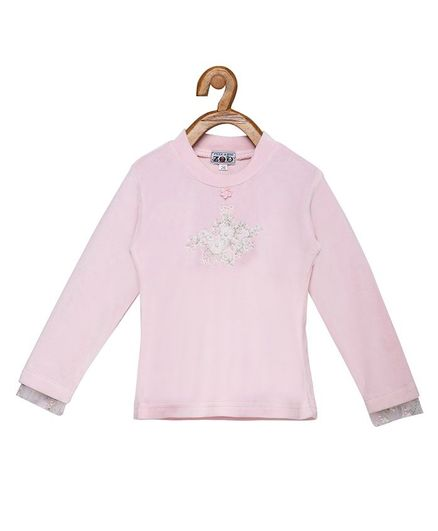 Peek a boo Zoo Full Sleeves Flower Embroidery Pearl Knitted Top - Pink