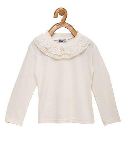 Peek a boo Zoo Full Sleeves Lace Detailed Knit Top - Beige