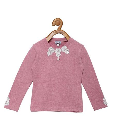 Peek a boo Zoo Full Sleeve Solid Flower Design Sweater Top - Pink