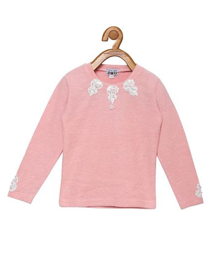 Peek a boo Zoo Full Sleeve Solid Flower Design Sweater Top - Peach