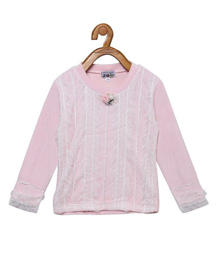 Peek a boo Zoo Full Sleeve Netted Embroidery Sweater Top - Pink