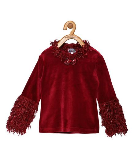 Peek a boo Zoo Full Sleeve Bow Detailed Top - Maroon