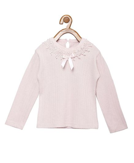 Peek a boo Zoo Full Sleeves Flower Lace Detailed Top - Pink