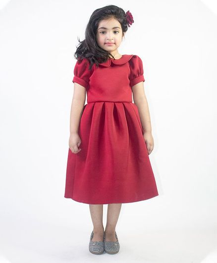 Ruviero Short Puffed Sleeves Peter Pan Collared Neck Dress - Red