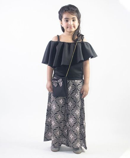 Ruviero Short Sleeves Cold Shoulder Top With Printed Skirt - Black