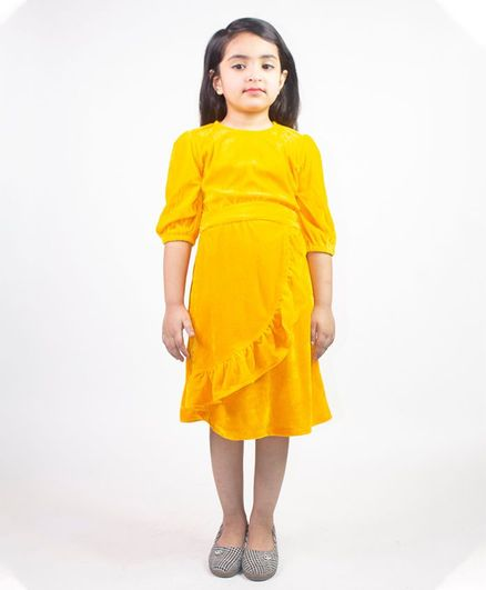Ruviero Full Puffed Sleeves Pleated Detail Dress - Yellow