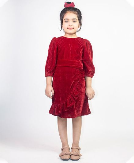 Ruviero Full Puffed Sleeves Pleated Detail Dress - Maroon