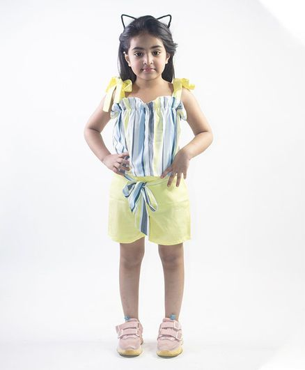 Ruviero Sleeveless Striped Top With Shorts - Blue Green