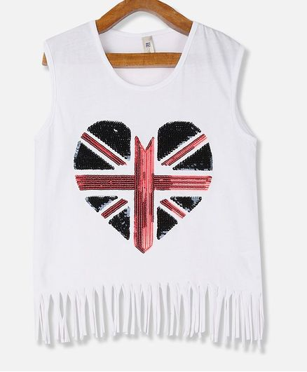 Cherokee Sleeveless Sequined Heart Fringed Hem Tee - White