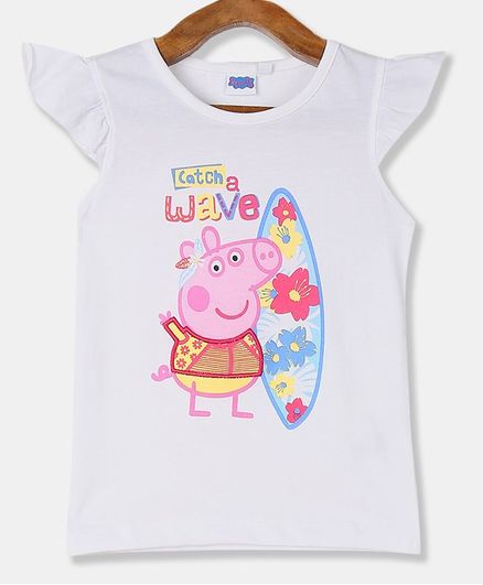 Colt Short Sleeves Peppa Pig Print Top - White