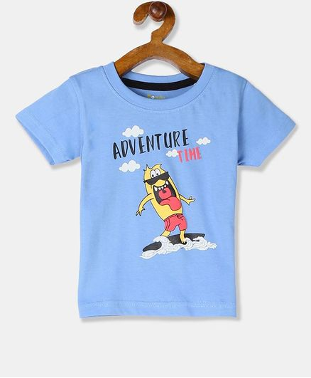 Donut Short Sleeves Adventure Time Printed Tee - Light Blue