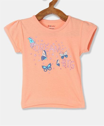 Donut Short Sleeves Butterfly Printed Tee - Peach