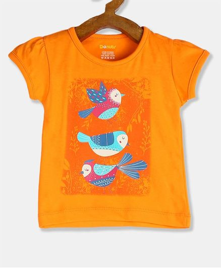 Donut Puffed Cap Sleeve Bird Print T-Shirt - Orange